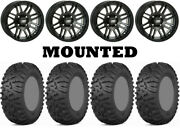 Kit 4 Itp Terra Claw Tires 27x9-14 On Itp Ss316 Matte Black Black Ops H700