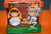 Very Rare Peanuts Charlie Brown And Lucy With Woodstock Nativity Play Stage