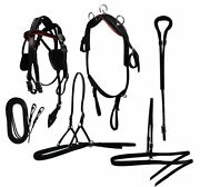 Mini Horse / Small Pony Black Leather Driving Harness Complete Set Adjustable