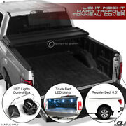 For 2004-2015 Titan 6.5and039 Truck Bed Tri-fold Hard Tonneau Cover Lw+led Lights Kit