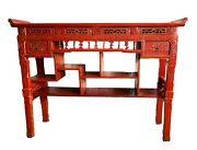 19th Chinoiserie Lacquer Wood Altar Table 48.25 H