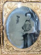 Antique Occupationaltin Type Photo Of A Barrel Maker In Action, Gutta Case