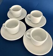 Set 4 Williams Sonoma Everyday Dinnerwear White Cup 6oz And Saucer 6in