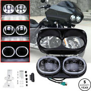 Motorcycle Projector Dual Led Headlight For Harley Road Glide Headlamp Black