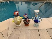 Fun Vintage Glass Clowns Or Bozos - It's From Italy And Sold Together 3 Clowns