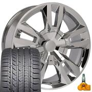 5821 Chrome 22 Wheels Goodyear Tires And Tpms Set Fit Chevrolet Gmc Cadillac
