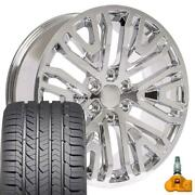 5906 Chrome 22x9 Wheels, Goodyear Tires And Tpms Set Fit Gmc Chevy Cadillac