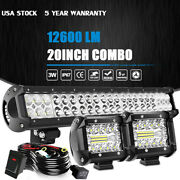 20/22inch Led Light Bar Spot Flood Combo+ 2x 4 Pods + Wiring For Jeep Truck Suv