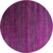 7and039 Round Gabbeh Savannah Grass Wool And Silk Hand Knotted Rug - Q6068