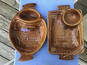 Pair Vintage California Pottery Mcm Platters With Cheese Dip Recipes Brown Glaze