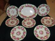 8 Pc Cowell And Hubbard Salad Set Hptd Roses Scallop Green Edge, 7 Plates, Platter
