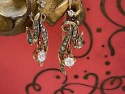 Lovely Antique Victorian Rose And Mine Cut Diamond Flora Drop Earrings 18k Gold
