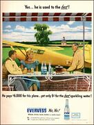 1947 Vintage Beverage Ad Evervess Sparkling Water Pretty Yellow Airplane 102020