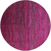 7and039 Round Wool And Silk Savannah Grass Gabbeh Hand Knotted Rug - Q6120