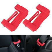 2pc Universal Car Auto Seat Belt Buckle Silicone Cover Clip Anti-scratch Red Us
