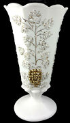 1956 Westmoreland Milk Glass W/hp Gold Trim Paneled Grape 9.25t Footed Vase