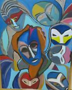 David Rosen 1912-2004 Abstract Faces Original Oil On Canvas Painting