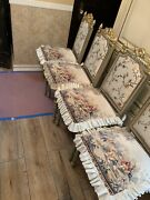Chair Set French Louis Style Victorian Vintage Set 4 Dining Gold Antique Silk
