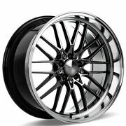 4ea 20 Staggered Ace Alloy Wheels Aff04 Black Chrome Machined Lip Rimss41