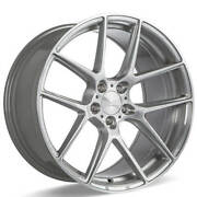 4ea 22 Staggered Ace Alloy Wheels Aff02 Silver Brushed Rimss41