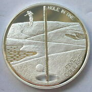 Bahamas 1994 Golf Hole In One 5 Dollars 1oz Silver Coinproof