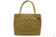 Used A01804 Classic Cc Medallion Beige Caviar Tote Bag Ghw - Authentic