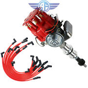 Red Cap Hei Distributor And 10.5mm Spark Plug Wires Fit Small Block Ford 289-302
