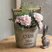 Galvanized Metal Mossy Acres 35¢ / Lump Coal Bucket With Wooden Handle Farmhouse