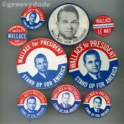 9 George Wallace For President Lemay Stand Up For America Pin Pinback Button Lot