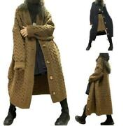 Winter Women V-neck Single-breasted Cardigan Coat Loose Knitted Sweater Trench L