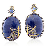 18k Gold Silver Spider With Spider Web Charm Sapphire Diamond Dangle Earrings