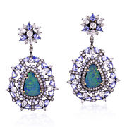 Opal Gemstone 2.05ct Pave Diamond Sterling Silver Cluster Earrings 18k Gold Gift