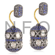 Uncut Diamond Studded Blue Sapphire 18k Gold Silver Double Sided Antique Earring