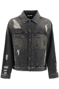 New Valentino Destroyed Denim In Jacket Uv0dc01m6rc Grigio Authentic Nwt