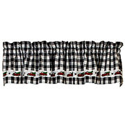 New Farmhouse Christmas Vintage Red Truck Black White Check Valance Curtains