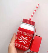 Starbucks 2020 Christmas 12oz Stainless Mason Jar And Sweater Cover And Two Lid Set