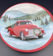 Matte Salad Plate Red Truck, Christmas Trees, Snow And Mountains Brand New
