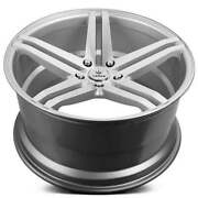 4ea 22 Staggered Verde Wheels V39 Parallax Matte Silver Machined Rims S42