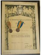 Italian Ww1 Medals Victory Interallied Unity Italy 1914 1918 Captain Diploma Wwi
