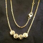 750 Yellow Gold Love Beads Move Slide Necklace With Case