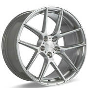 4ea 22 Staggered Ace Alloy Wheels Aff02 Silver Brushed Rimss43