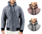 Menand039s Salt And Pepper Soft Sweater Sherpa Lined Heathered Zip Up Hoodie Jacket