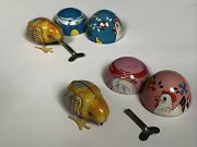 2 Vintage Tin Litho Chicks Chicken In Egg Wind Up Toy Haji Made In Japan