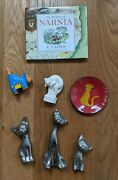 Set Kitty Cat Collectibles Wisdom Of Narnia Book Lion Netsuke Figures C.s. Lewis