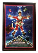 Chevy Chase Signed Authentic Ds 1989 Christmas Vacation Movie Poster Framed Bas
