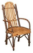 Amish Set 4 Rustic Hickory Dining Arm Chair Bent Wood Slat Cabin Lodge