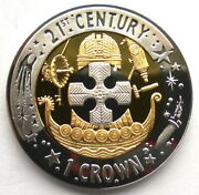 Gibraltar 2001 21st Century Crown Gold Plated Silver Coin,proof