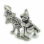 Little Red Riding Hood And Wolf Sterling Silver Charm .925 X 1.