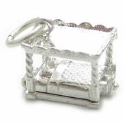 Four Poster Bed Sterling Silver Charm .925 X 1 Beds Sleeping Charms.