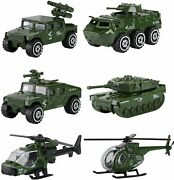 Pack Military Vehicles 6 Alloy Metal Army Toys Diecast Model Assorted Toy Cars